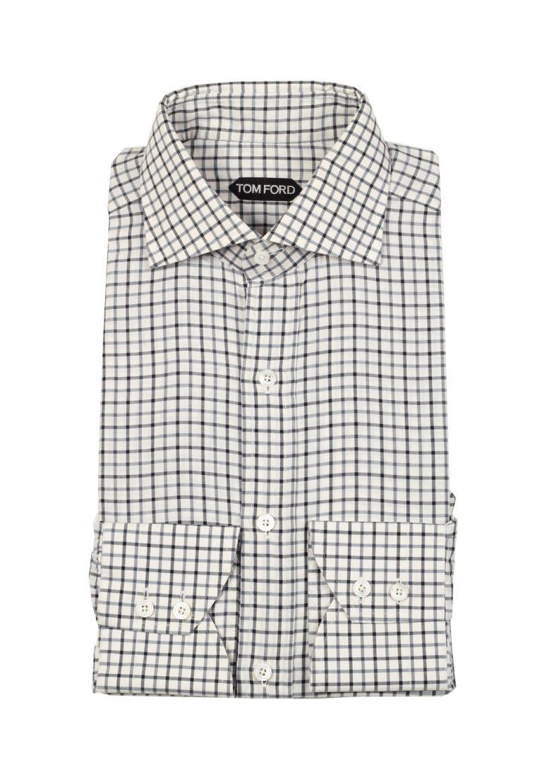 TOM FORD Checked White Blue Shirt Size 39 / 15,5 U.S. - thumbnail | Costume Limité