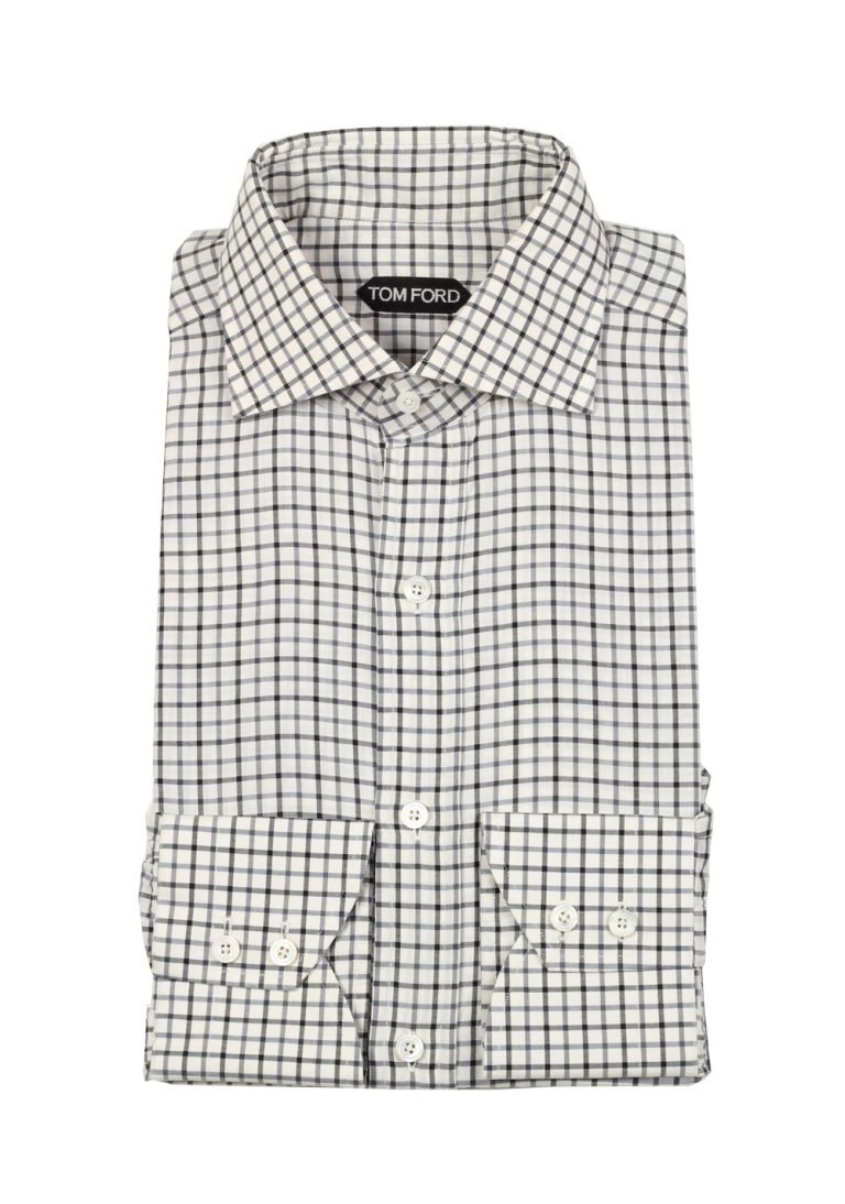 TOM FORD Checked White Blue Shirt Size 43 / 17 U.S. - thumbnail | Costume Limité