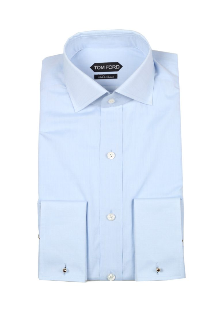 TOM FORD Solid Blue Shirt Size 39 / 15,5 U.S. - thumbnail | Costume Limité