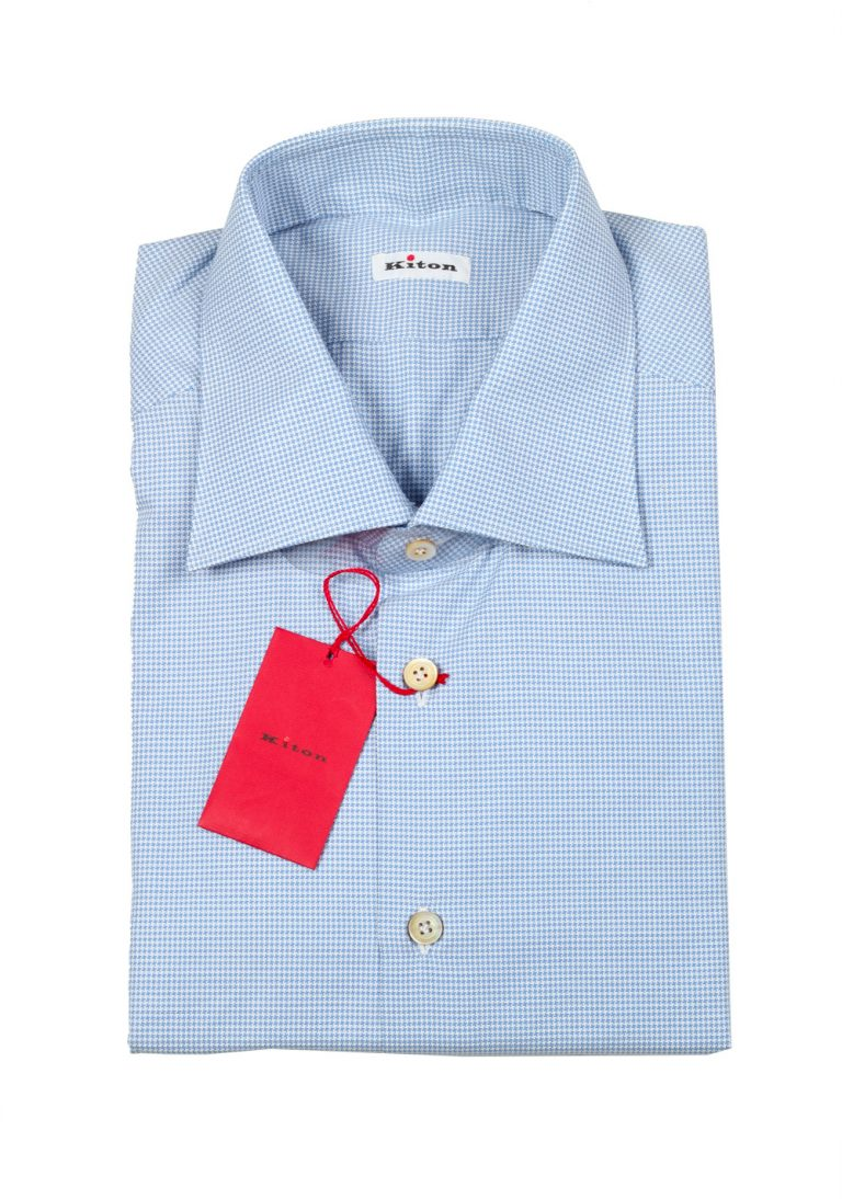 Kiton Houndstooth White Blue Shirt Size 44 / 17,5 U.S. - thumbnail | Costume Limité