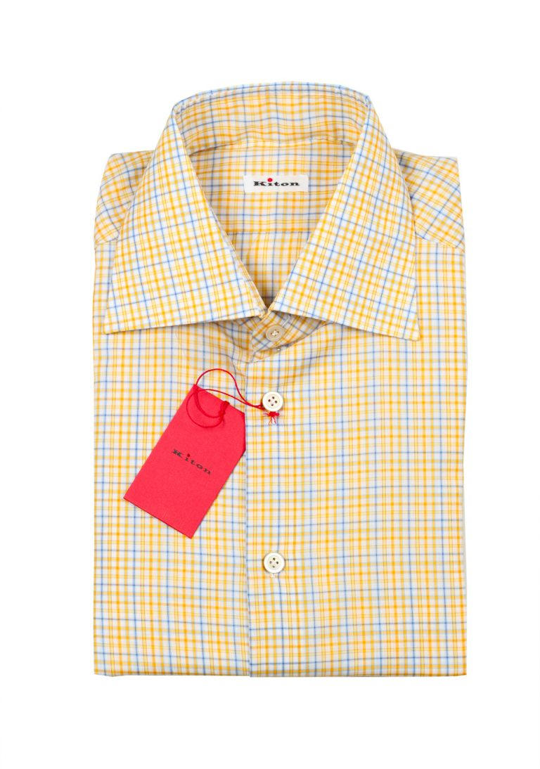 Kiton Checked White Yellow Blue Shirt Size 41 / 16 U.S. - thumbnail | Costume Limité