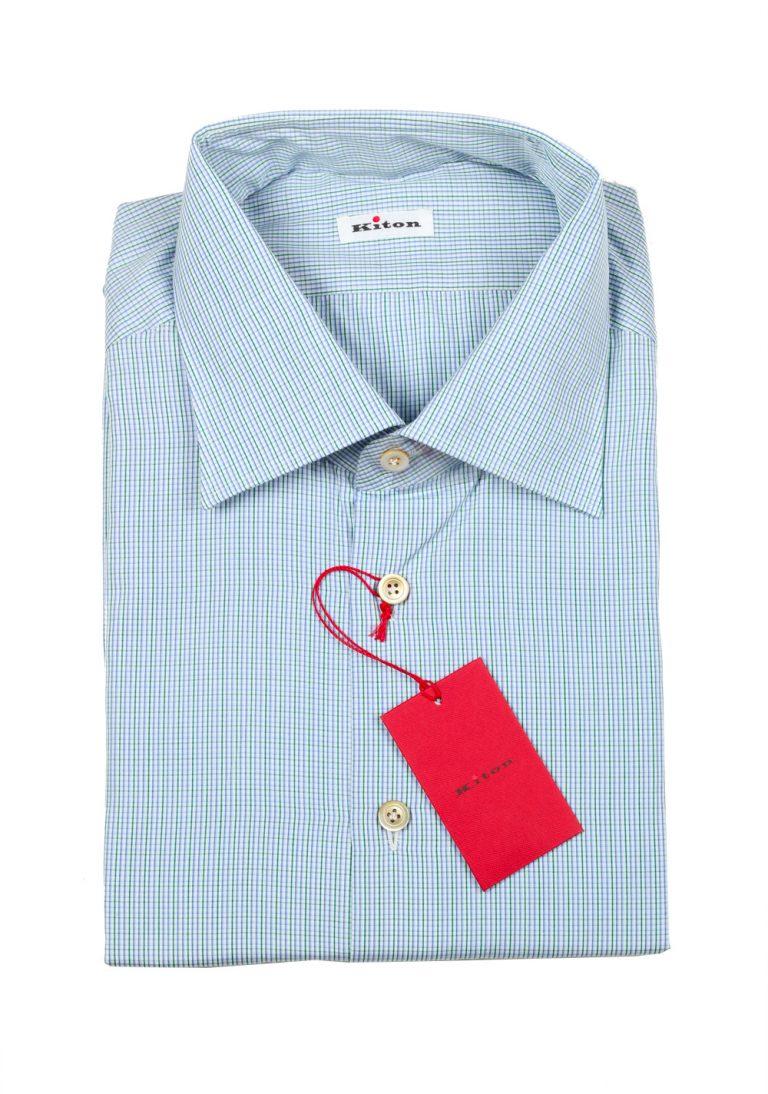 Kiton Checked White Green Blue Shirt Size 43 / 17 U.S. - thumbnail | Costume Limité