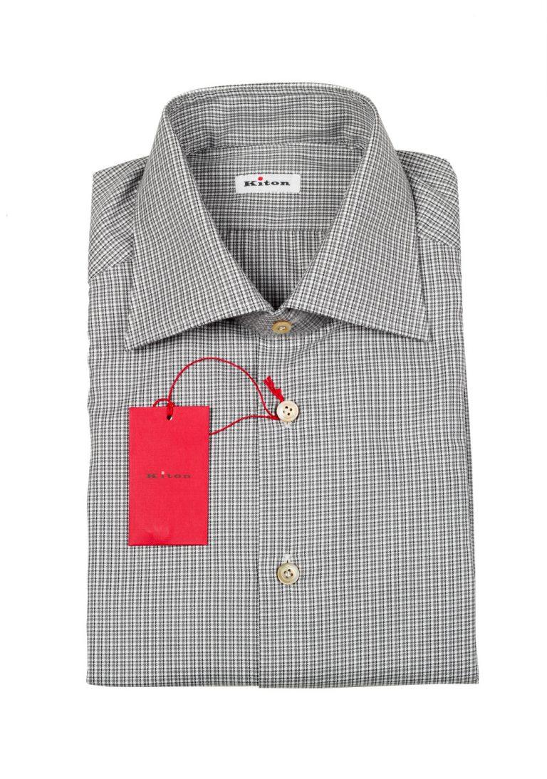 Kiton Checked White Gray Shirt Size 39 / 15,5 U.S. - thumbnail | Costume Limité