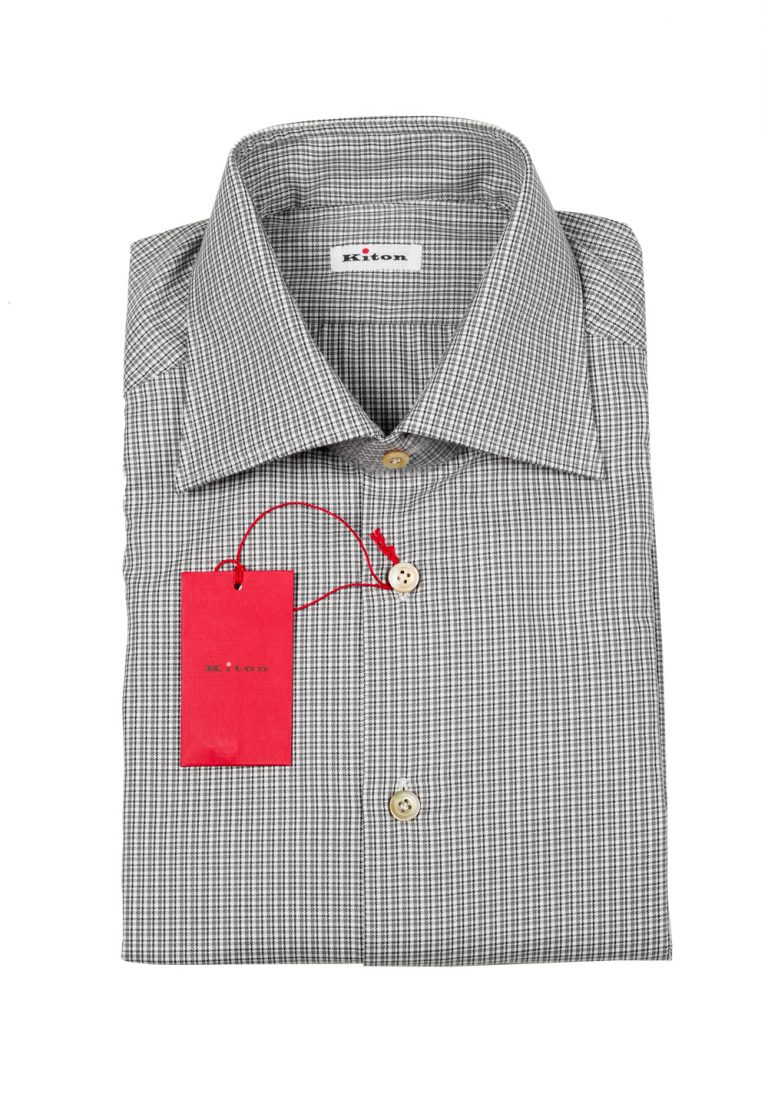 Kiton Checked White Gray Shirt Size 43 / 17 U.S. - thumbnail | Costume Limité