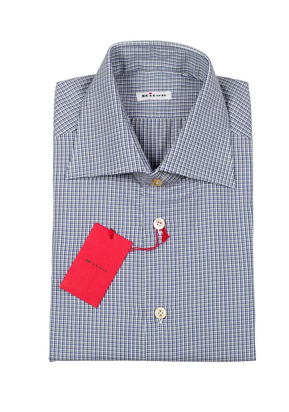 Kiton Checked White Blue Shirt Size 39 / 15,5 U.S. | Costume Limité