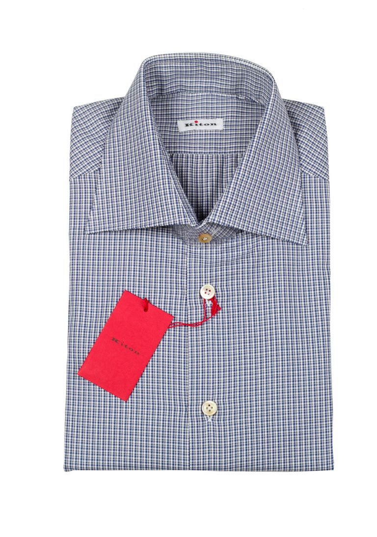 Kiton Checked White Blue Shirt Size 43 / 17 U.S. - thumbnail | Costume Limité