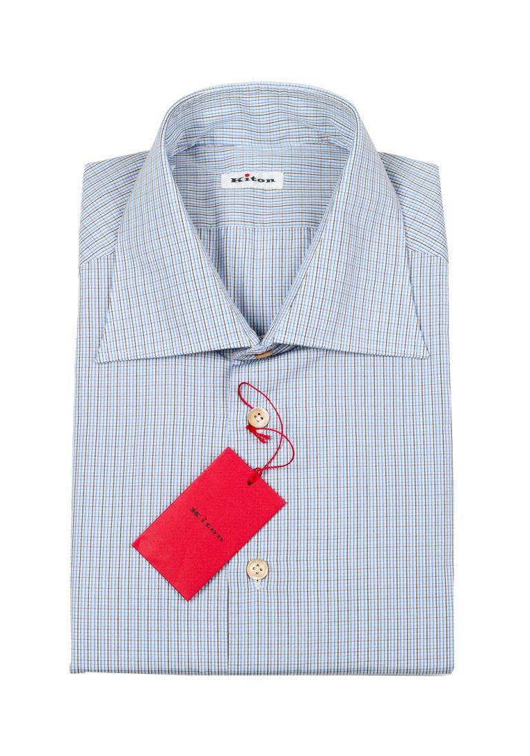 Kiton Checked White Blue Gray Shirt Size 42 / 16,5 U.S. - thumbnail | Costume Limité