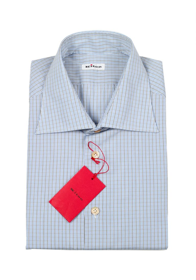 Kiton Checked White Blue Gray Shirt Size 45 / 18 U.S. - thumbnail | Costume Limité