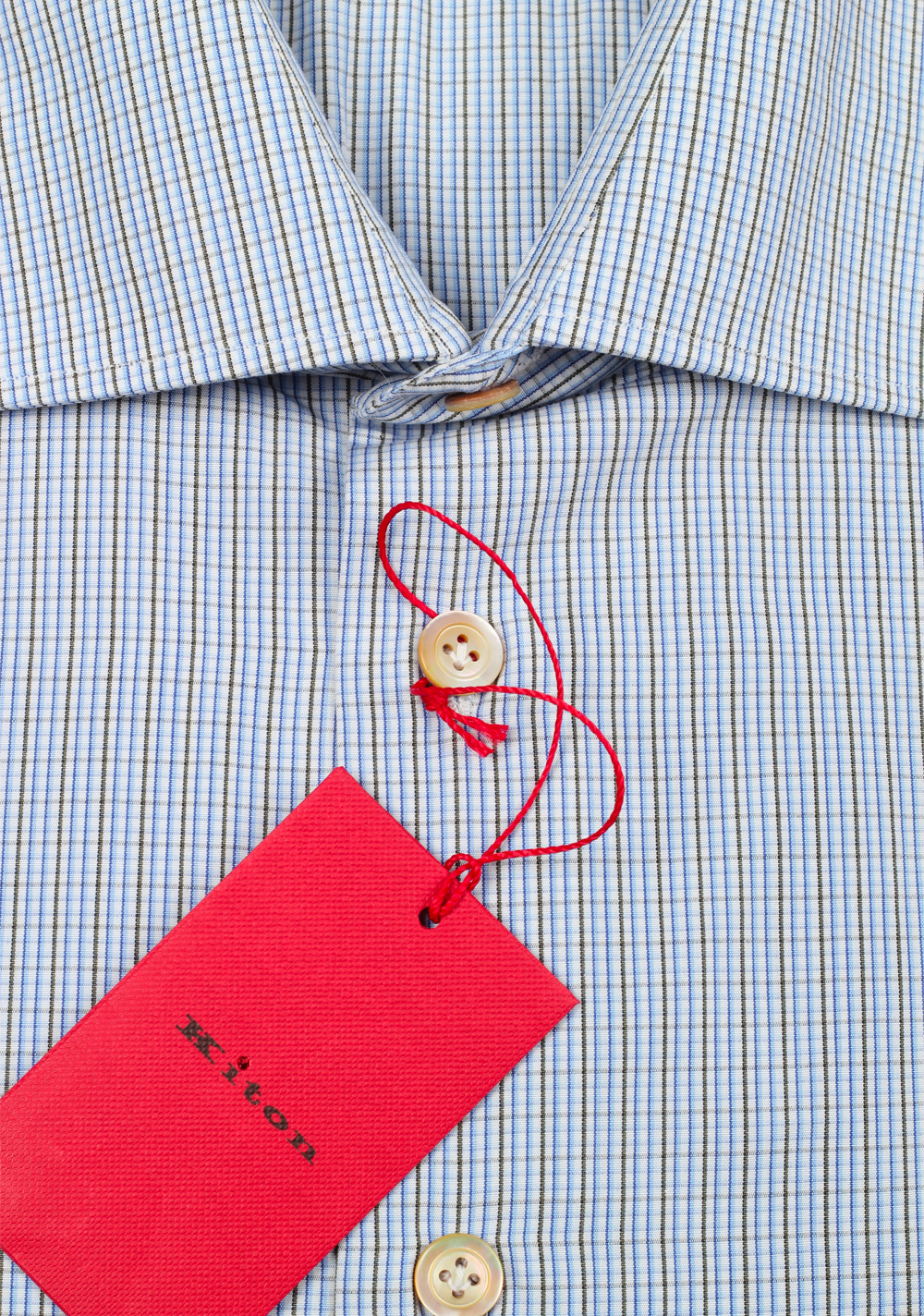 Kiton Checked White Blue Gray Shirt Size 45 / 18 U.S. | Costume Limité