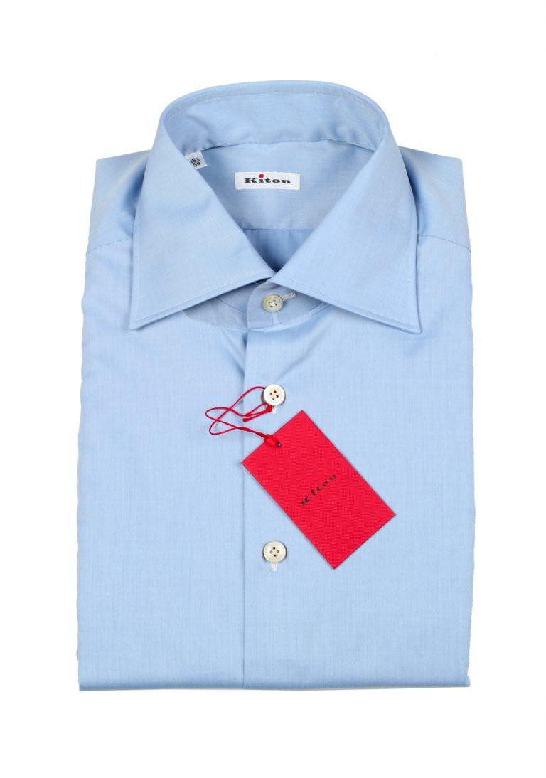 Kiton Solid Blue Shirt Size 45 / 18 U.S. - thumbnail | Costume Limité