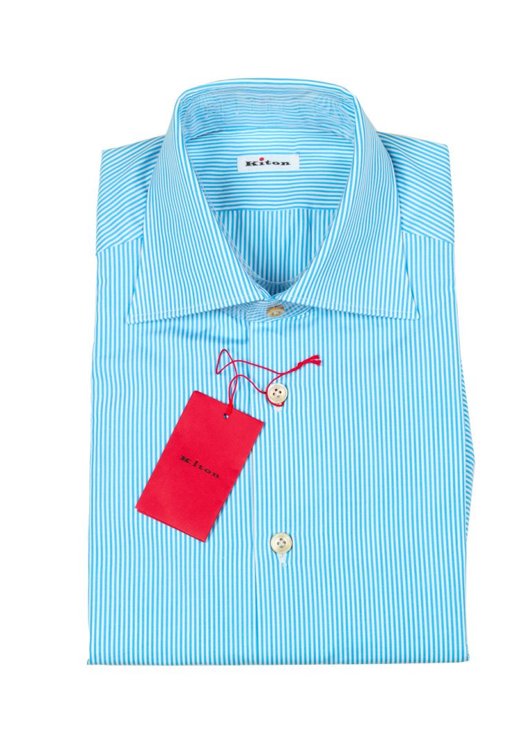 Kiton Striped White Turquoise Shirt Size 39 / 15,5 U.S. - thumbnail   Costume Limité