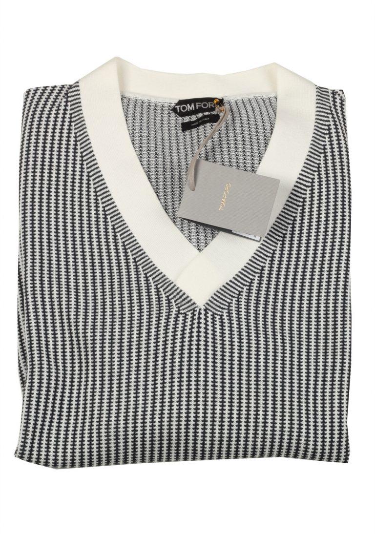 TOM FORD Black White V Neck Pullover Sweater Size 54 / 44R U.S. - thumbnail | Costume Limité
