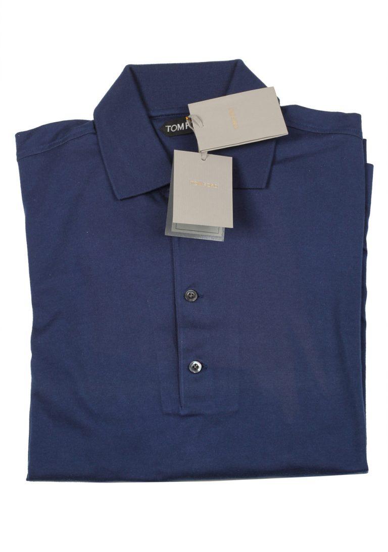 TOM FORD Navy Long Sleeve Polo Shirt Size 48 / 38R U.S. - thumbnail | Costume Limité
