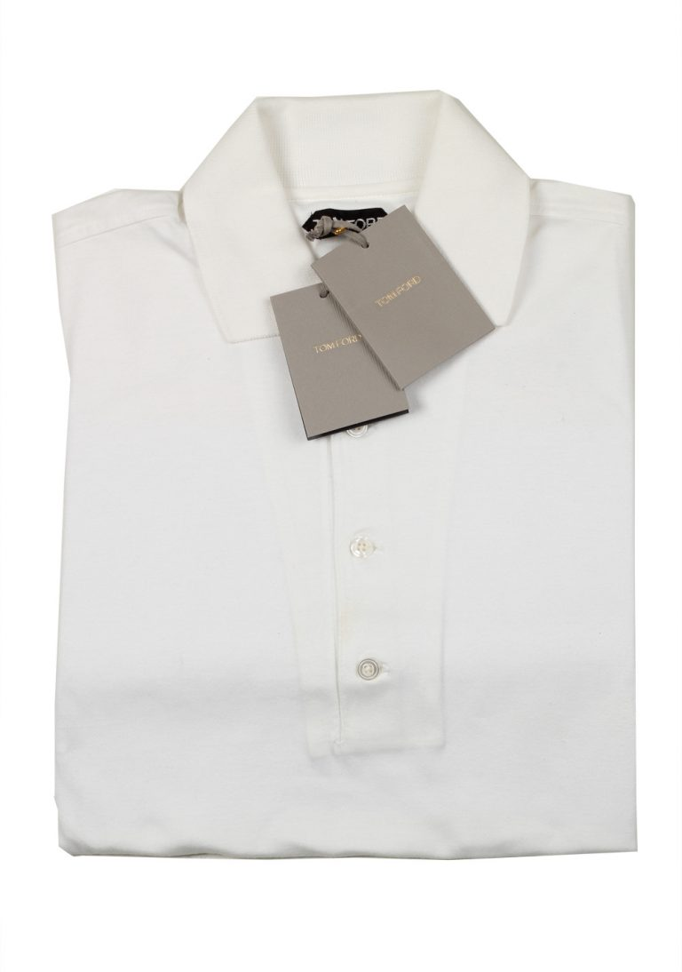 TOM FORD Off White Long Sleeve Polo Shirt Size 50 / 40R U.S. - thumbnail | Costume Limité