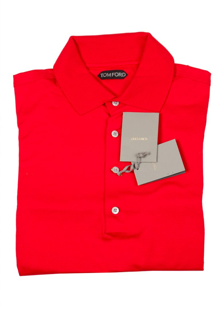 TOM FORD Red Long Sleeve Polo Shirt Size 54 / 44R U.S. - thumbnail | Costume Limité
