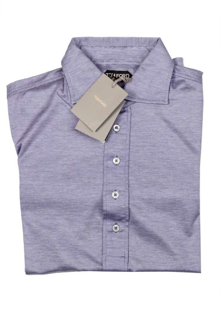 TOM FORD Blue Long Sleeve Polo Shirt Size 48 / 38R U.S. In Silk Cotton - thumbnail | Costume Limité