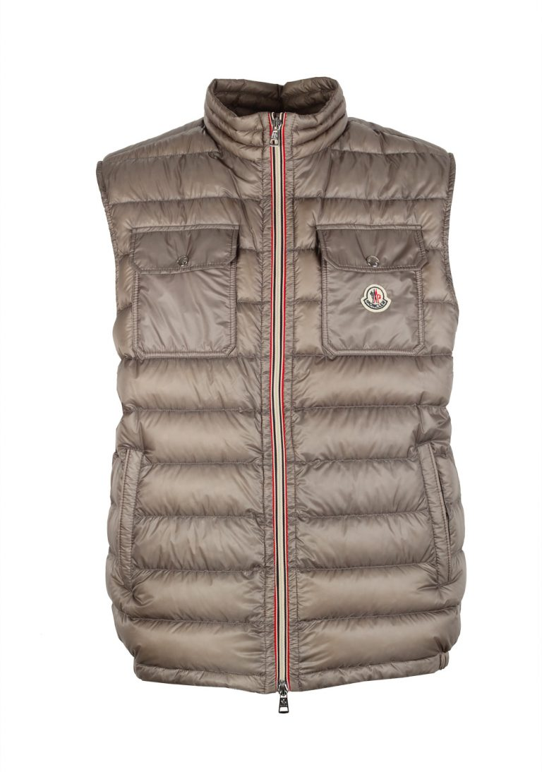Moncler Taupe ACHILLE Quilted Padded Gilet Vest Size 3 / M / 50 / 40 U.S. - thumbnail | Costume Limité