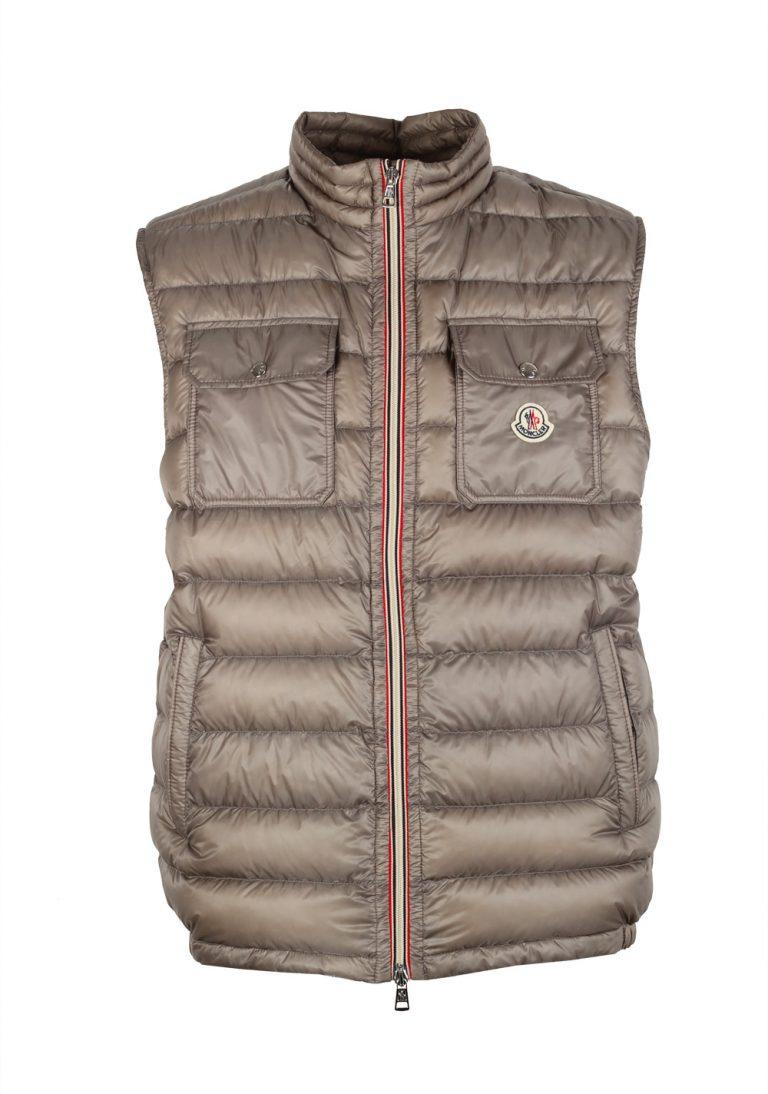 Moncler Taupe ACHILLE Quilted Padded Gilet Vest Size 3 / M / 50 / 40 U.S. - thumbnail | Costume Limité