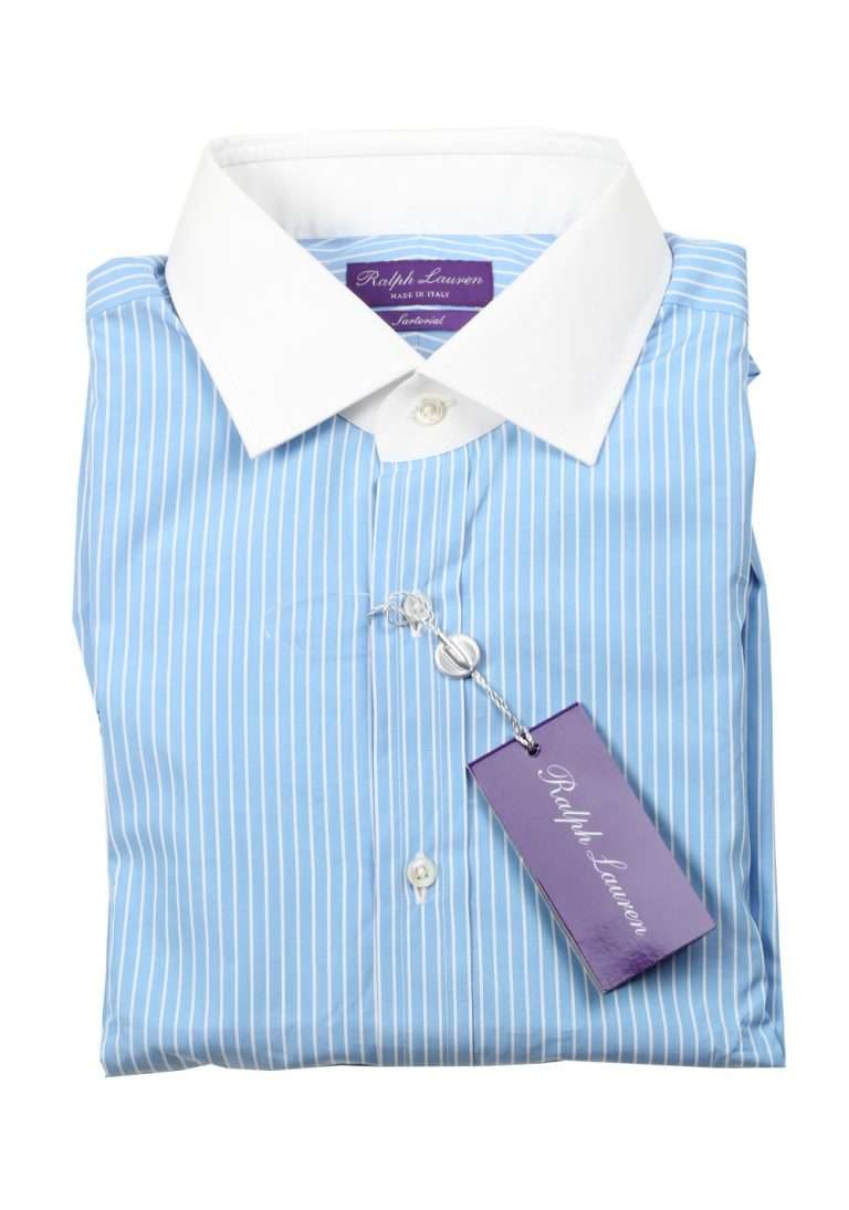 Ralph Lauren Purple Label Sartorial Line Blue Striped Shirt Size 42 / 16.5 U.S. - thumbnail | Costume Limité