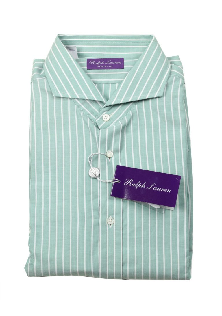 Ralph Lauren Purple Label Green Striped Shirt Size 43 / 17 U.S. - thumbnail | Costume Limité