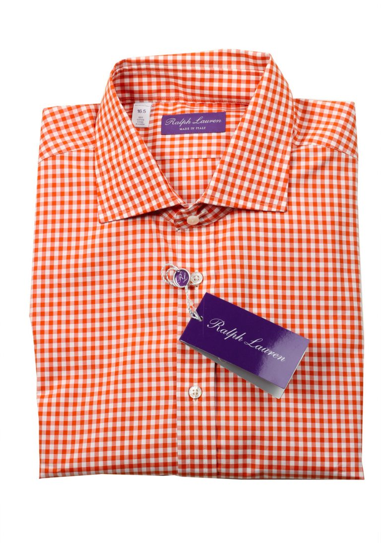 Ralph Lauren Purple Label Rust Brown Checked Shirt Size 42 / 16.5 U.S. - thumbnail | Costume Limité