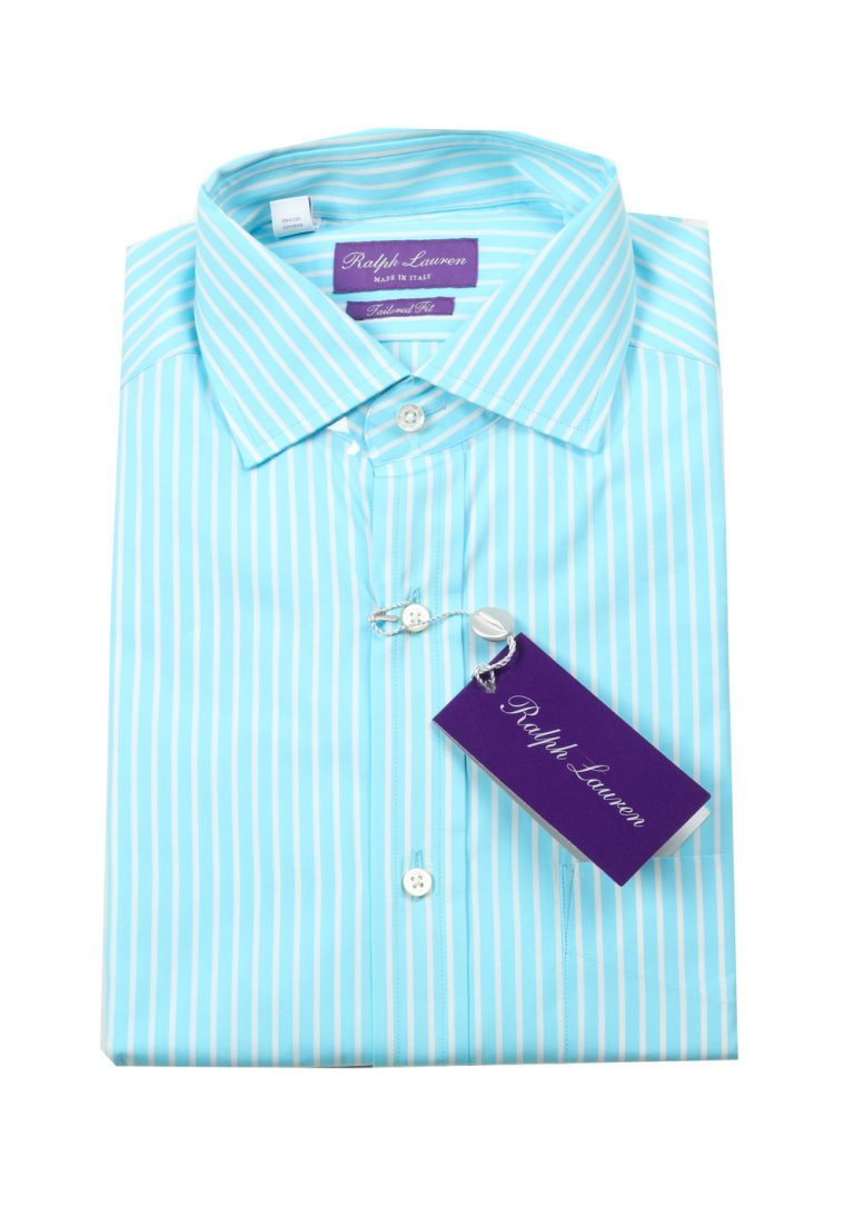 Ralph Lauren Purple Label Turquoise Striped Tailored Fit Shirt Size 38 / 15 U.S. - thumbnail | Costume Limité