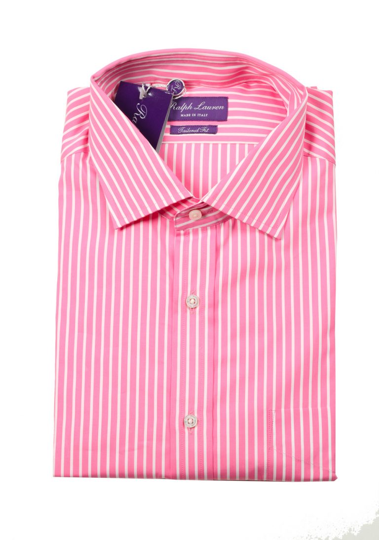 Ralph Lauren Purple Label Pink Striped Tailored Fit Shirt Size 44 / 17.5 U.S. - thumbnail | Costume Limité