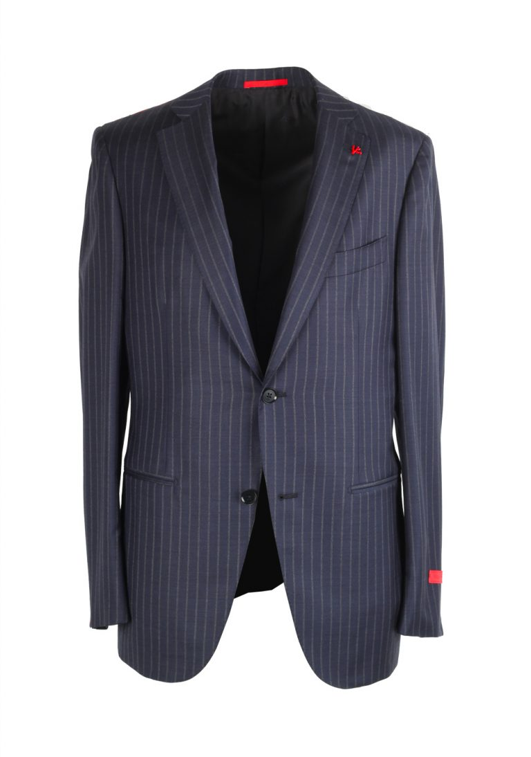Isaia Napoli Striped Blue Suit Size 48 / 38R U.S. Super 140s Base Tribeca - thumbnail | Costume Limité