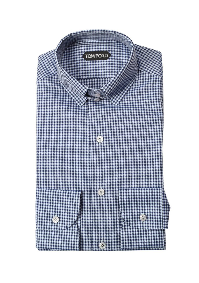 TOM FORD Checken Blue / White Shirt Size 40 / 15,75 U.S. - thumbnail | Costume Limité