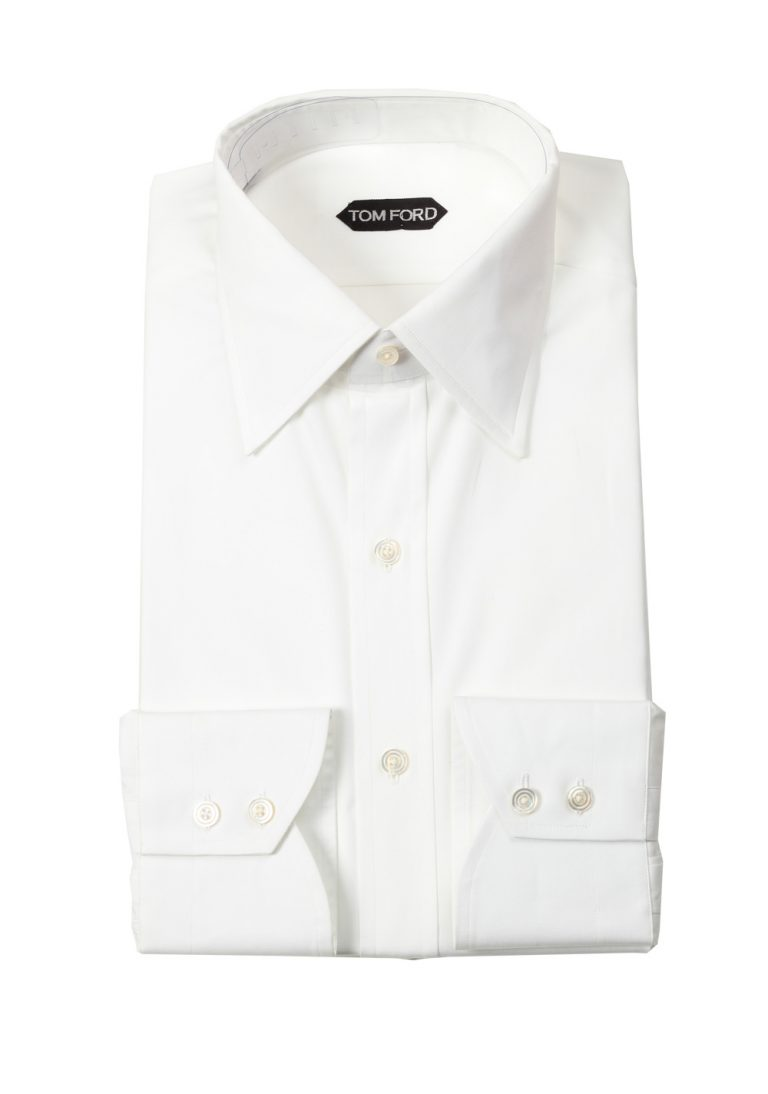 TOM FORD Solid White Shirt Size 40 / 15,75 U.S. - thumbnail | Costume Limité