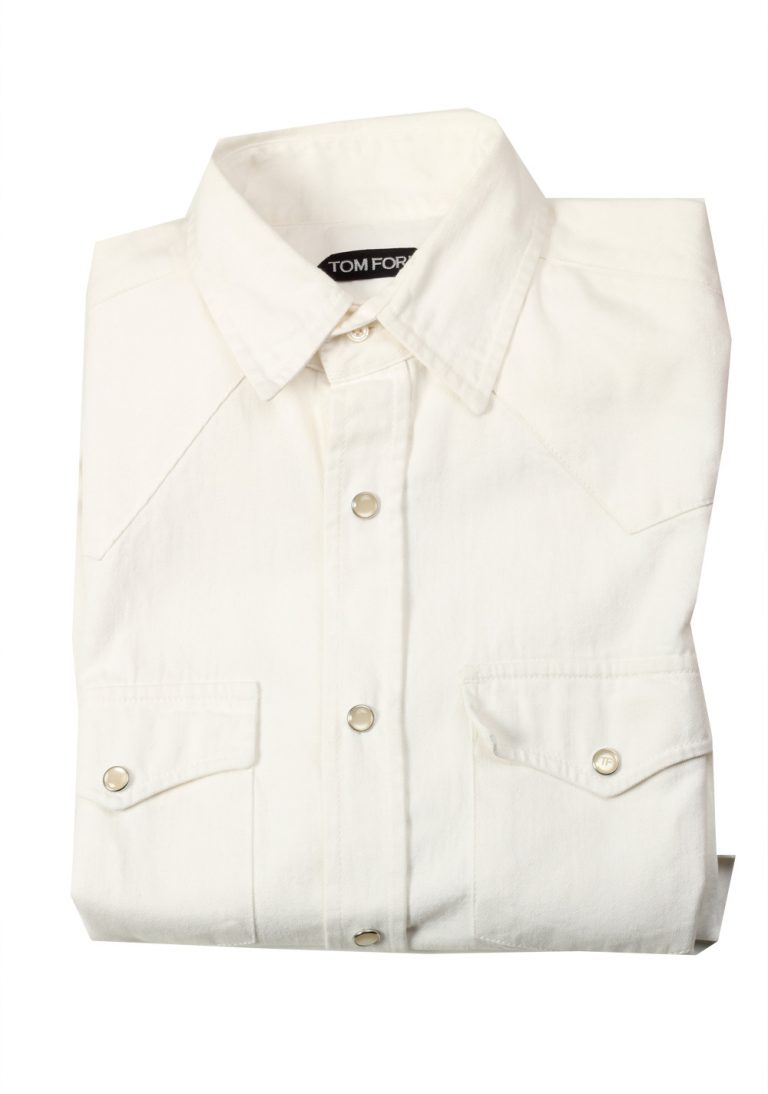 TOM FORD Solid White Casual Western Shirt Size 38 / 15 U.S. - thumbnail | Costume Limité