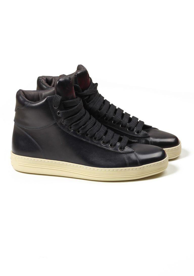 TOM FORD Russel High Top Blue Leather Sneaker Shoes Size 7 UK / 8 U.S. - thumbnail | Costume Limité