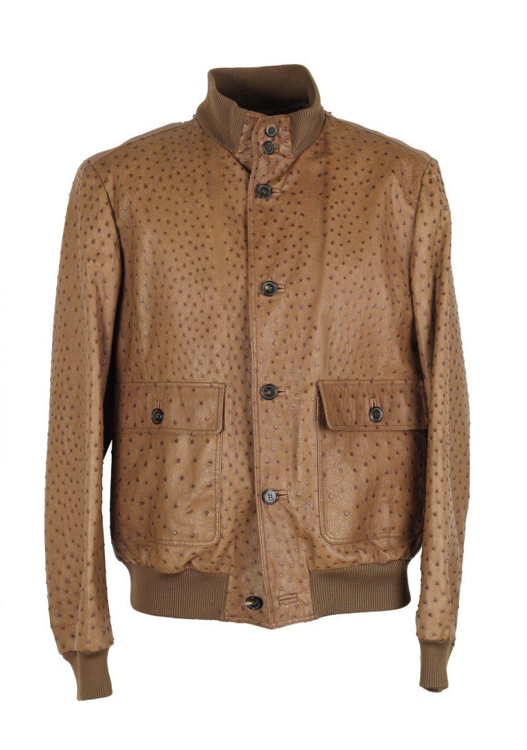 Brioni Palissandro Blouson Coat Ostrich Leather Jacket Size 52 / 42R U.S. - thumbnail | Costume Limité