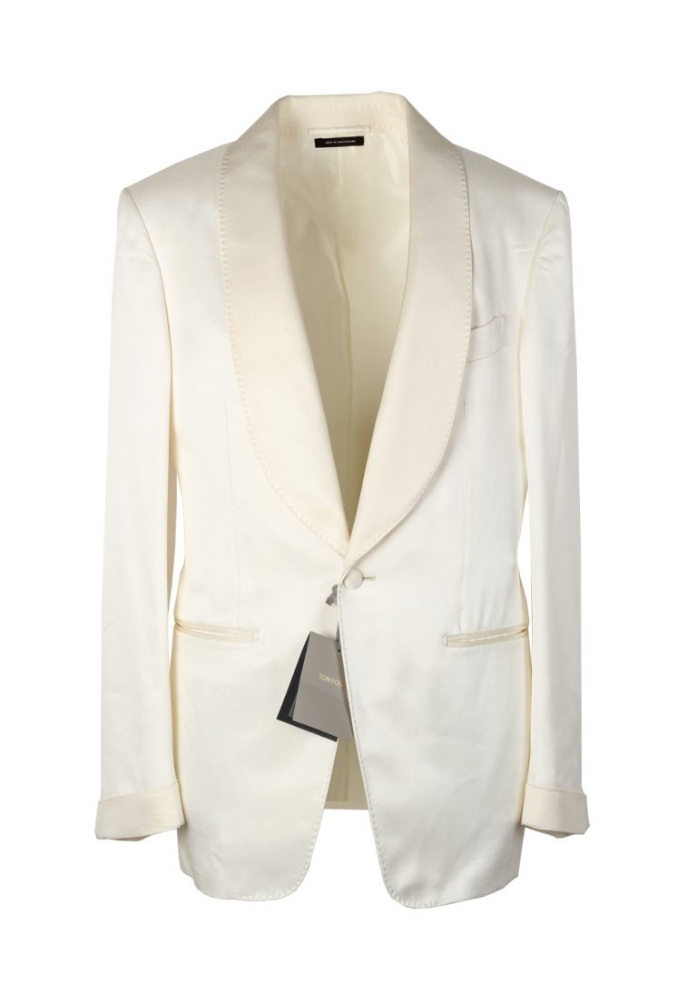 TOM FORD Shelton Shawl Collar Off White Sport Coat Tuxedo Dinner Jacket Size 46 / 36R U.S. - thumbnail | Costume Limité