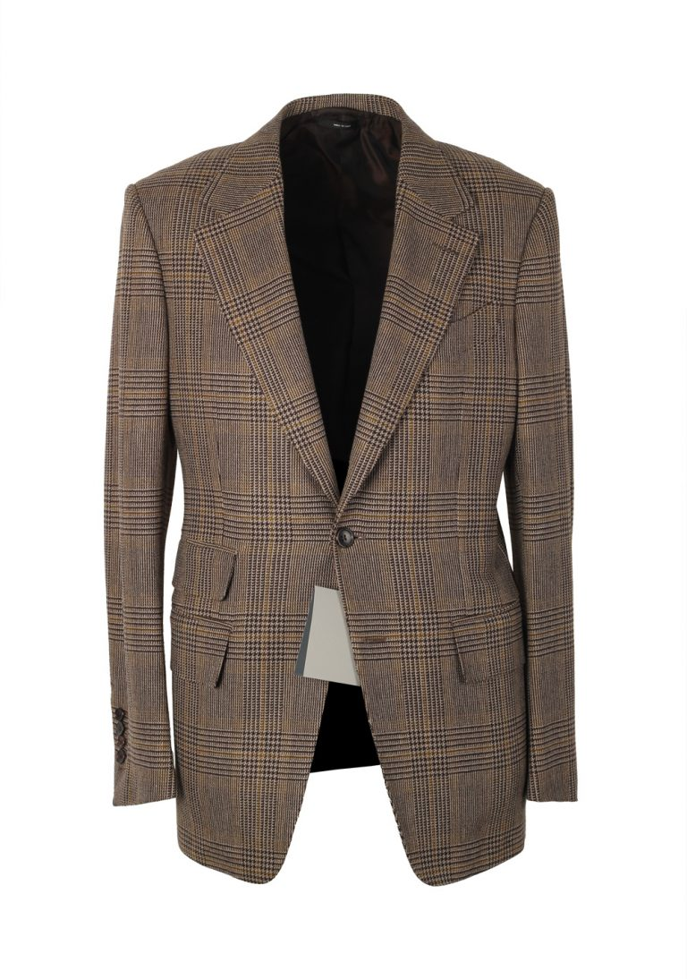 TOM FORD Shelton Checked Brown Sport Coat Size 46 / 36R In Wool Cashmere - thumbnail | Costume Limité