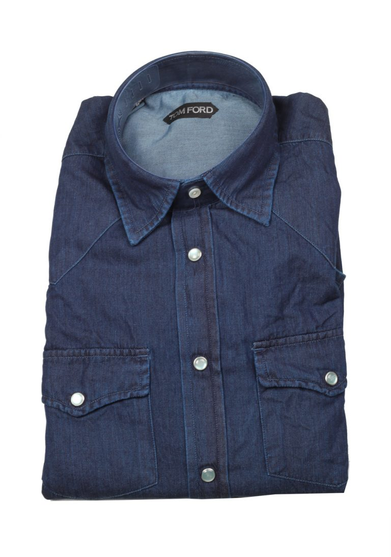 TOM FORD Solid Blue Denim Casual Shirt Size 39 / 15,5 U.S. - thumbnail | Costume Limité
