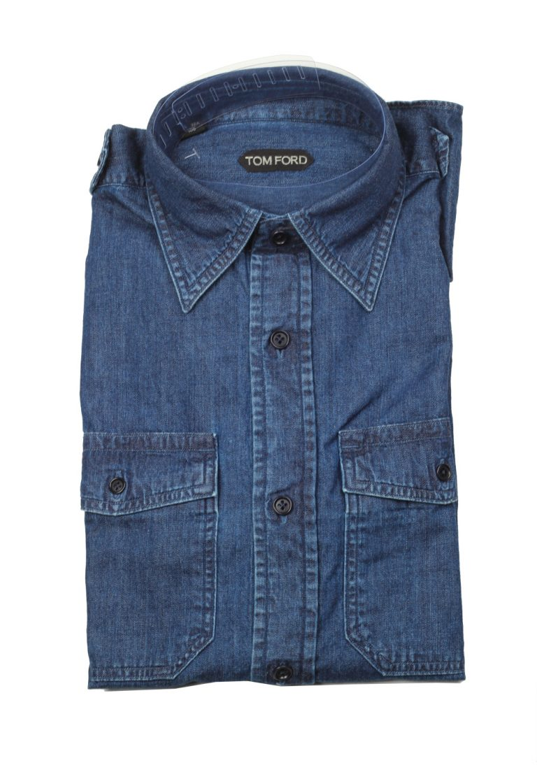 TOM FORD Solid Blue Denim Casual Shirt Size 40 / 15,75 U.S. - thumbnail | Costume Limité