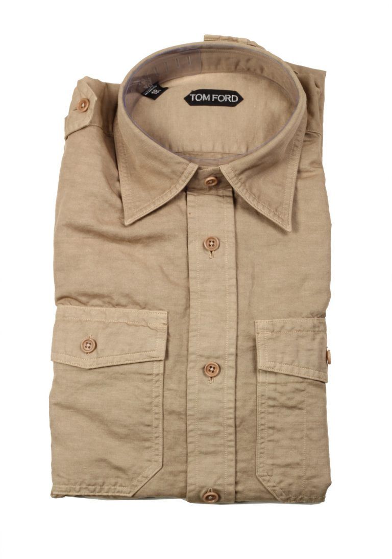 TOM FORD Solid Brown Casual Shirt Size 40 / 15,75 U.S. - thumbnail | Costume Limité