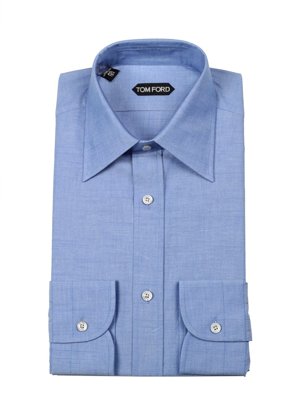 Tom ford solid blue dress shirt size 40 15 75 u s for Size 15 dress shirt