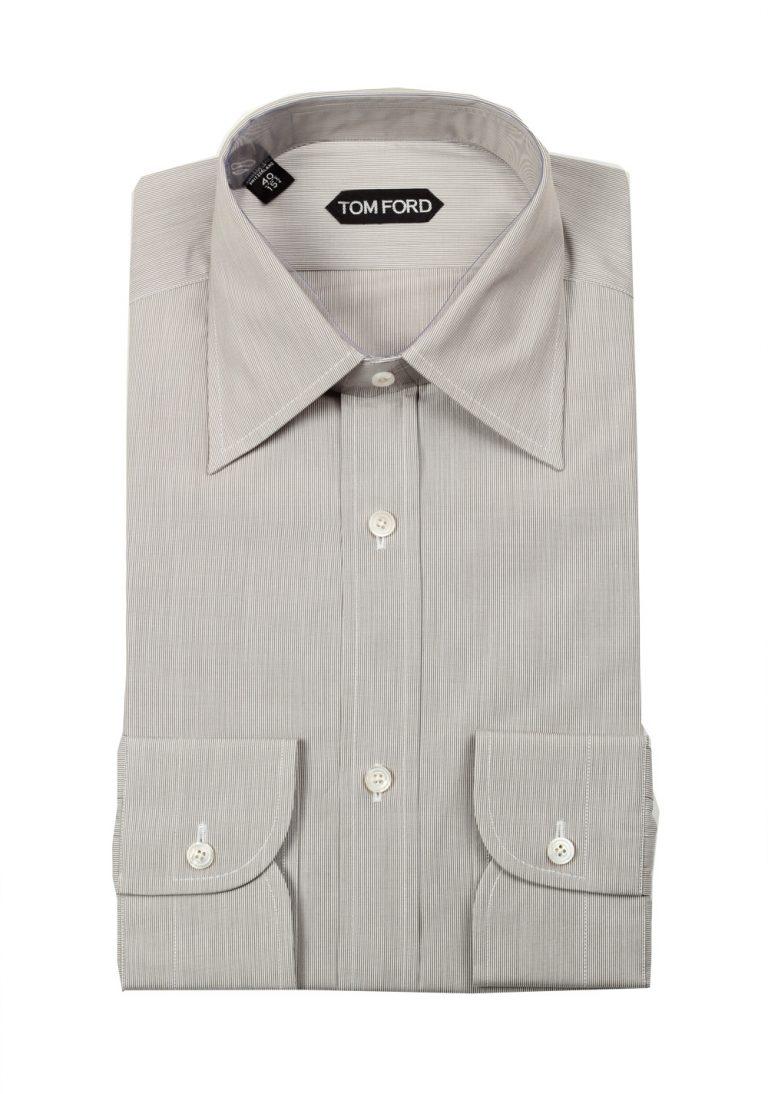 TOM FORD Striped White Gray Dress Shirt Size 40 / 15,75 U.S. - thumbnail | Costume Limité