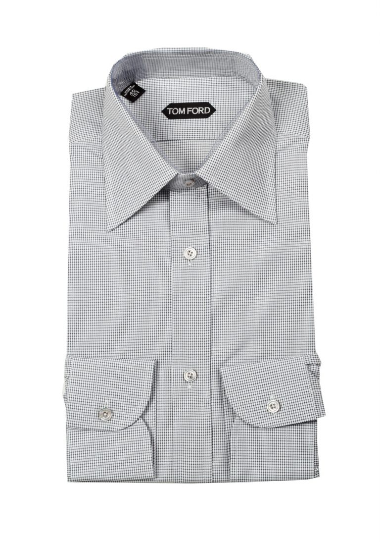 TOM FORD Checked White Gray Dress Shirt Size 40 / 15,75 U.S. - thumbnail | Costume Limité
