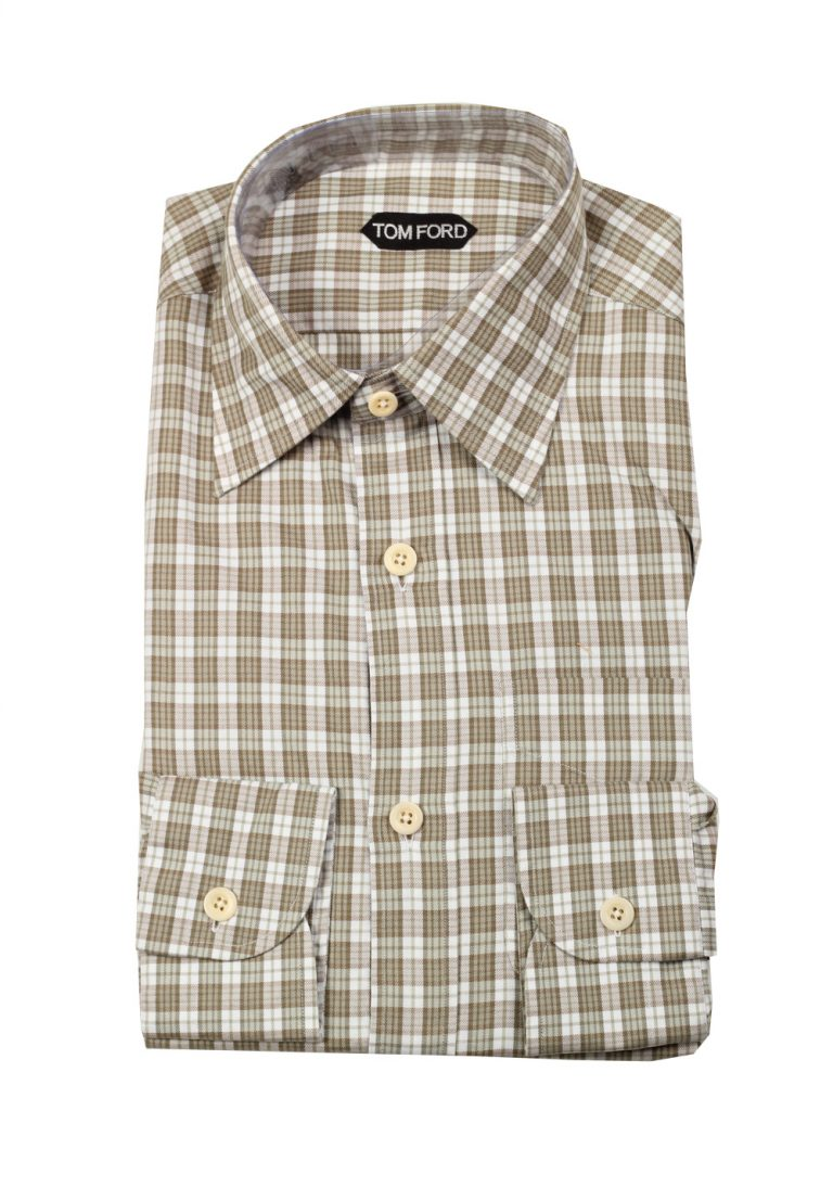 TOM FORD Checked Brown Dress Shirt Size 40 / 15,75 U.S. - thumbnail | Costume Limité
