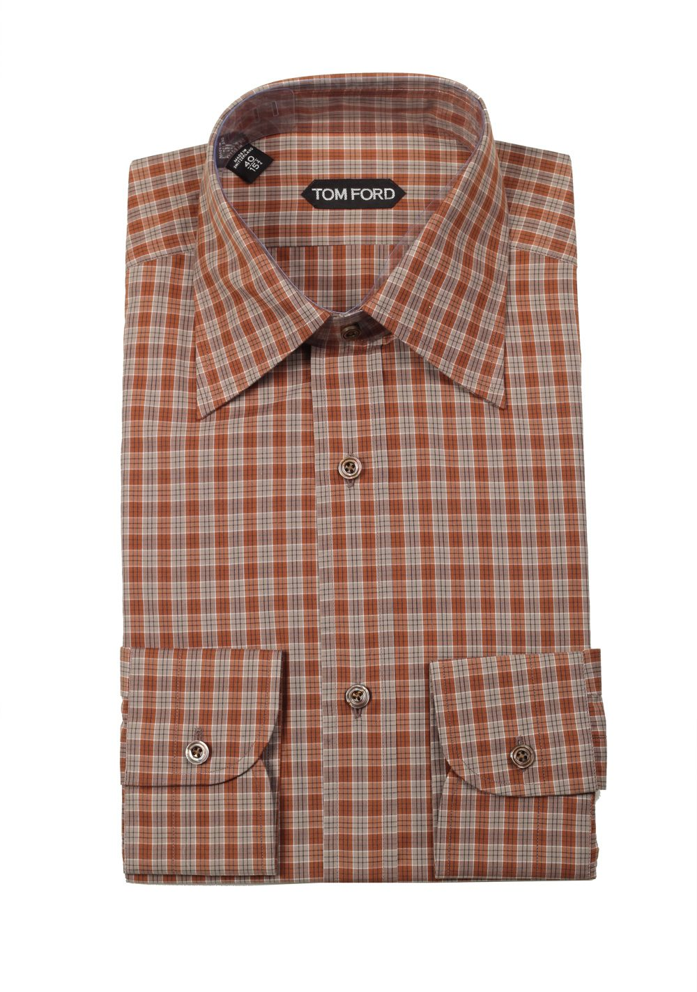 Tom ford checked brown dress shirt size 40 15 75 u s for Size 15 dress shirt