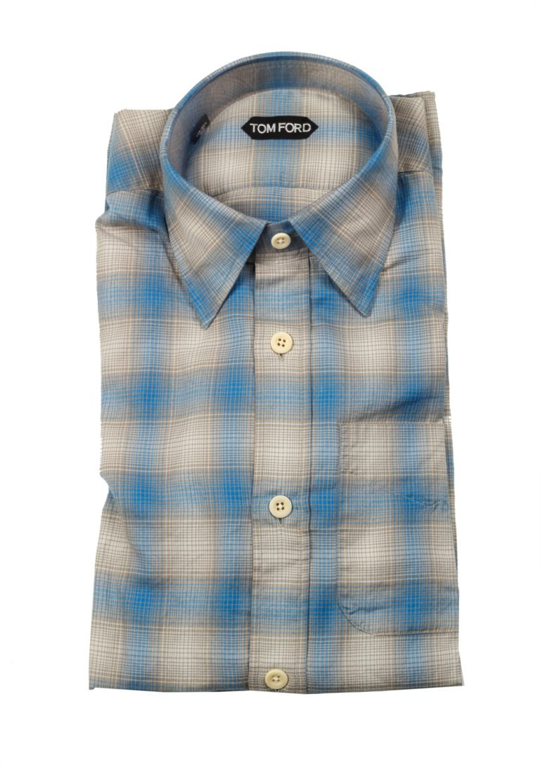 TOM FORD Checked Beige Blue Dress Shirt Size 40 / 15,75 U.S. - thumbnail | Costume Limité