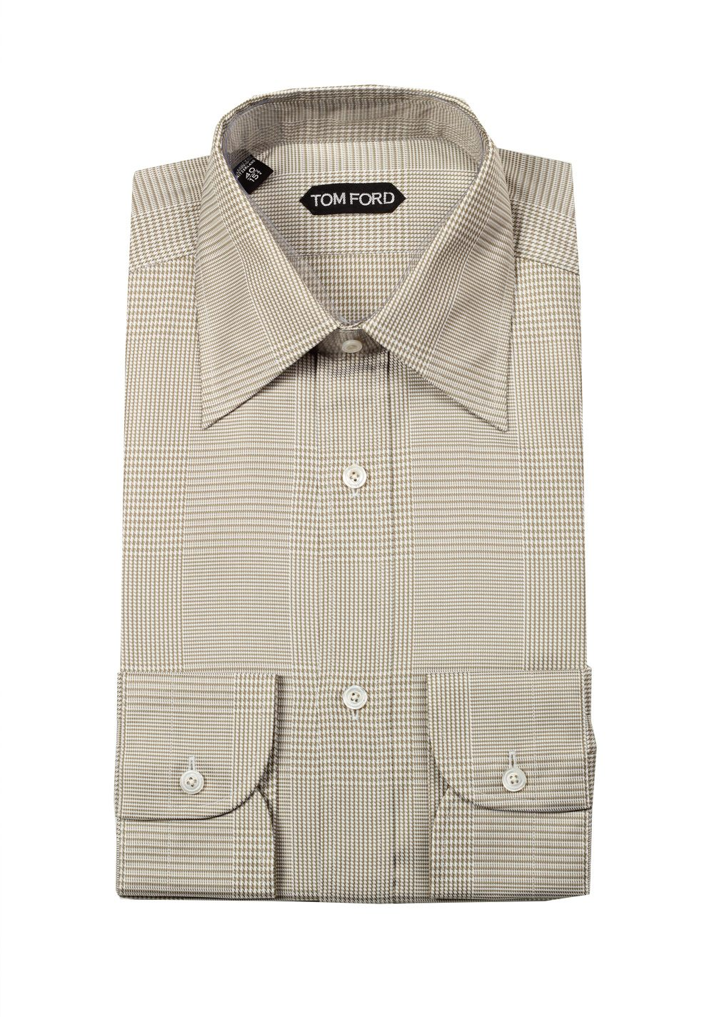 Tom ford checked beige dress shirt size 40 15 75 u s for Size 15 dress shirt