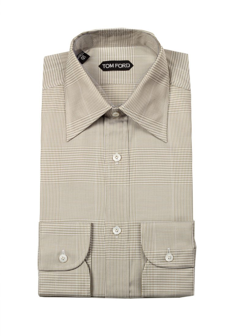 TOM FORD Checked Beige Dress Shirt Size 40 / 15,75 U.S. - thumbnail | Costume Limité