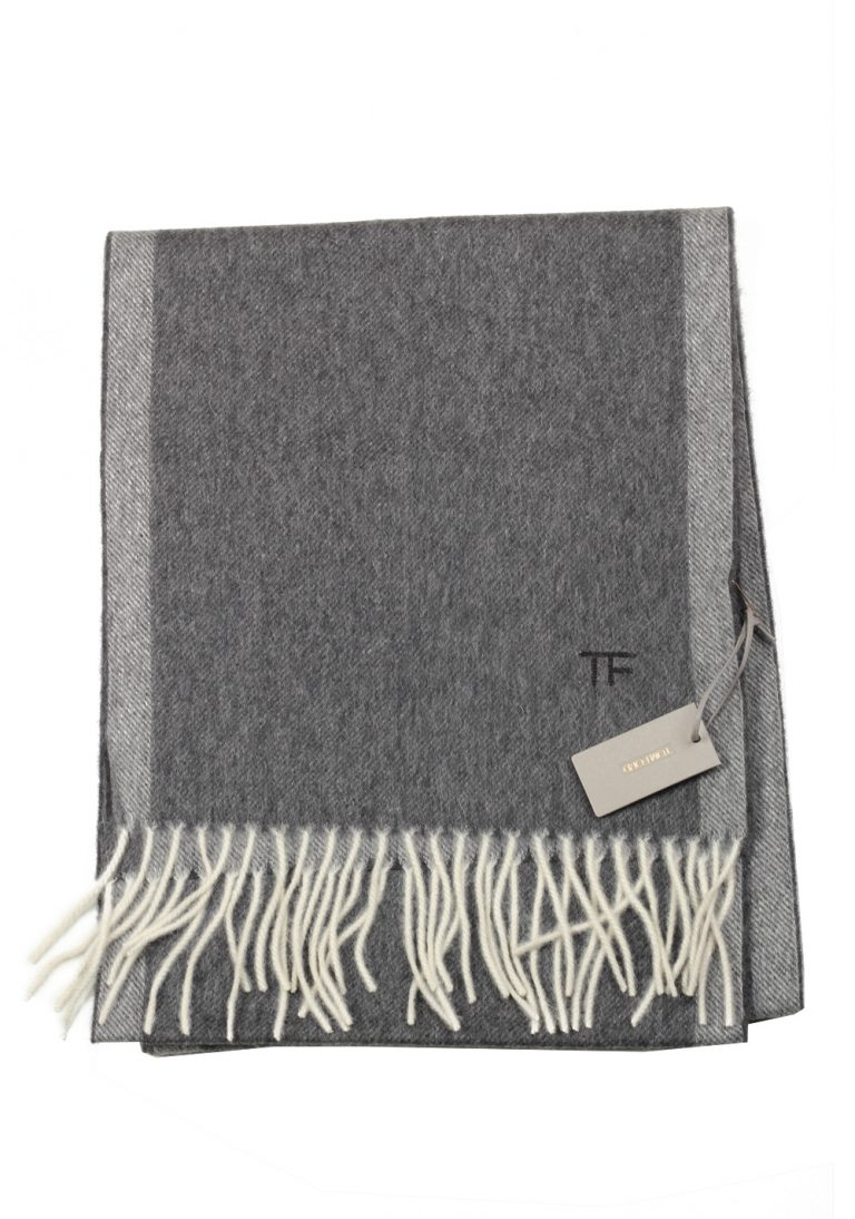 Tom Ford Gray Wool Alpaca Cashmere Signature Scarf 82″ / 11″ - thumbnail | Costume Limité