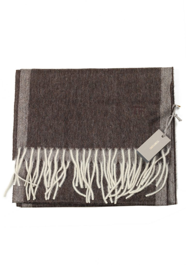 Tom Ford Brown Wool Alpaca Cashmere Signature Scarf 82″ / 11″ - thumbnail | Costume Limité