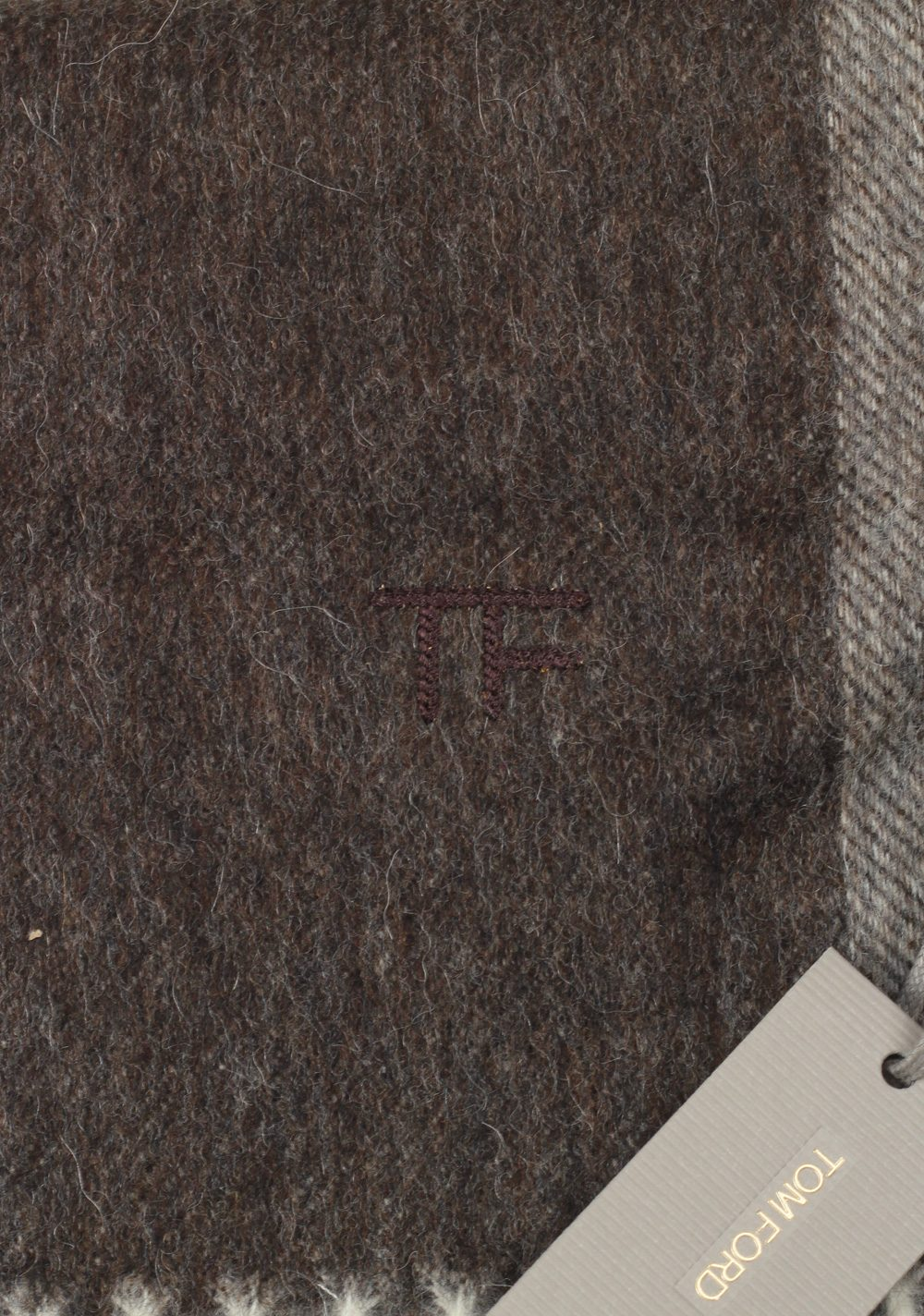 Tom Ford Brown Wool Alpaca Cashmere Signature Scarf 82″ / 11″ | Costume Limité