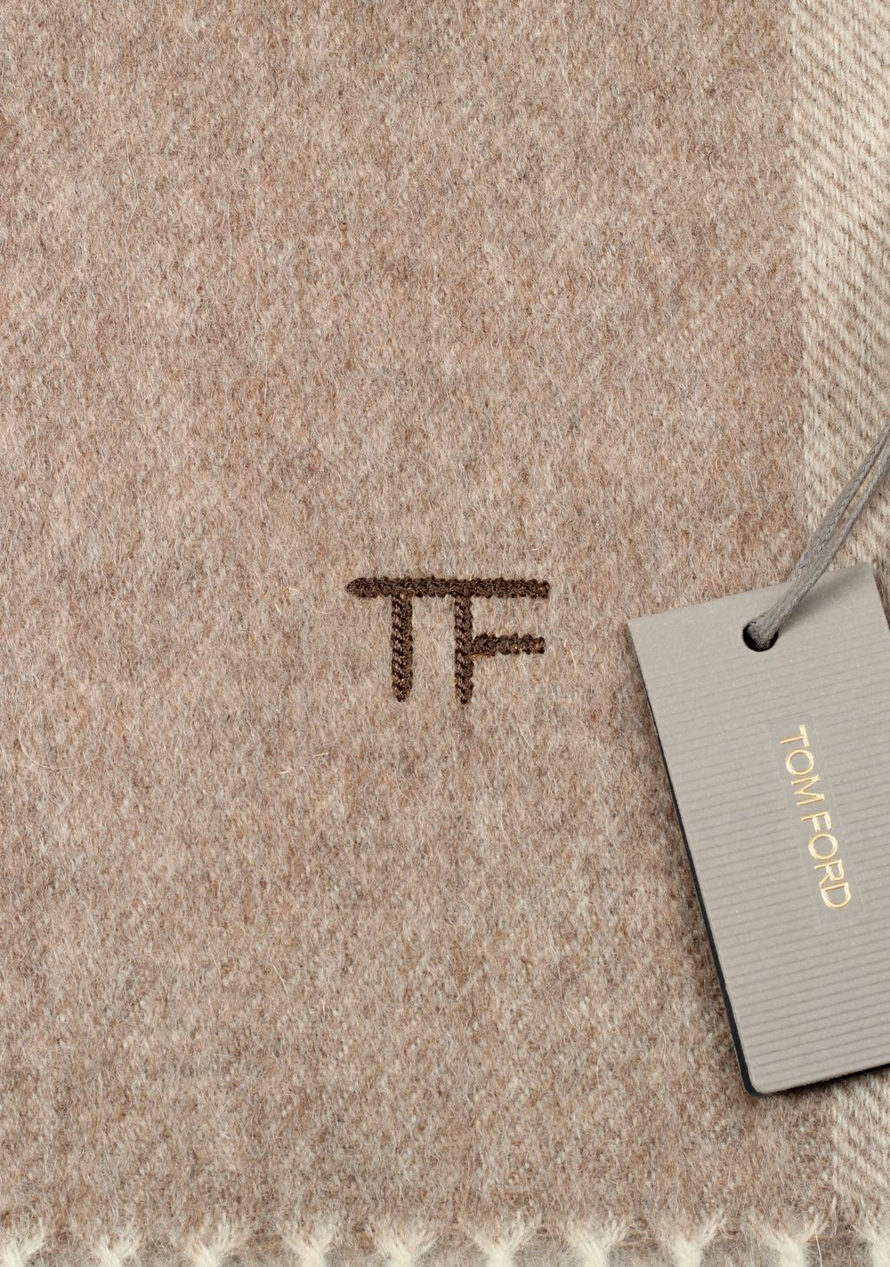 Tom Ford Camel Wool Alpaca Cashmere Signature Scarf 82″ / 11″ | Costume Limité